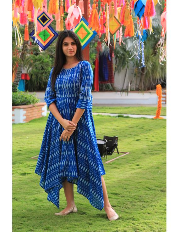 Blue semi silk ikat dress with handkerchief hem: LD500D-LD500D-M