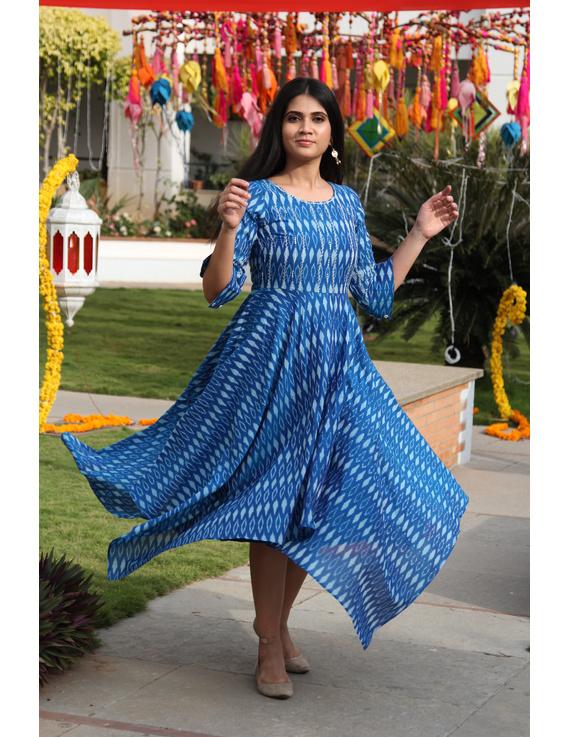 Blue semi silk ikat dress with handkerchief hem: LD500D-M-2