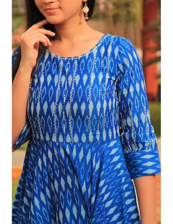 Blue semi silk ikat dress with handkerchief hem: LD500D-M-4