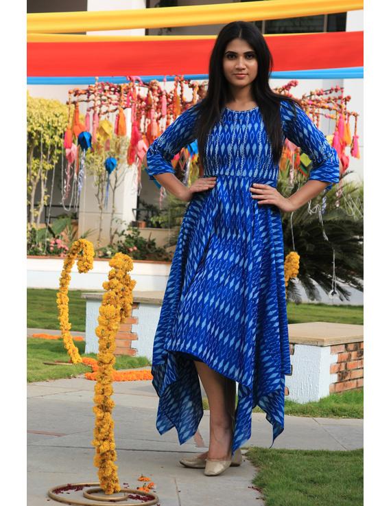 Blue semi silk ikat dress with handkerchief hem: LD500D-M-1