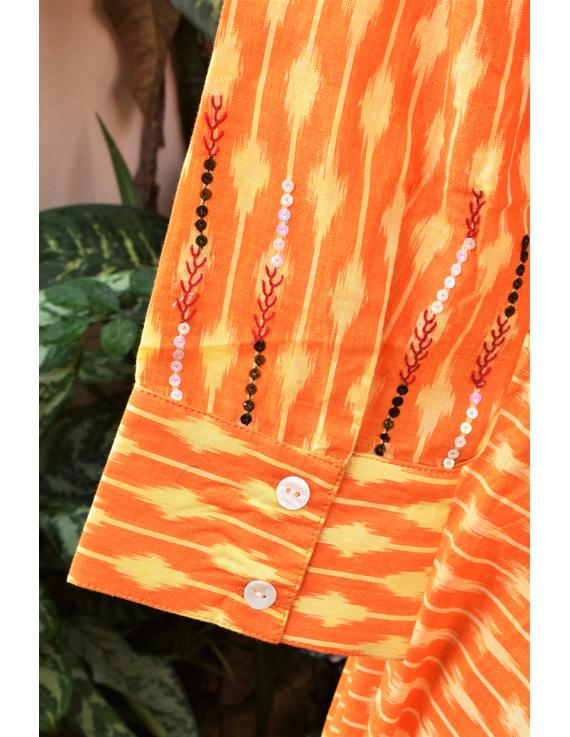 Golden yellow semi silk ikat dress with a handkerchief hem: LD500C-XXL-4