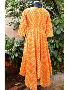 Golden yellow semi silk ikat dress with a handkerchief hem: LD500C-XXL-3-sm