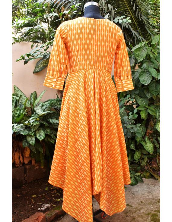 Golden yellow semi silk ikat dress with a handkerchief hem: LD500C-XXL-3