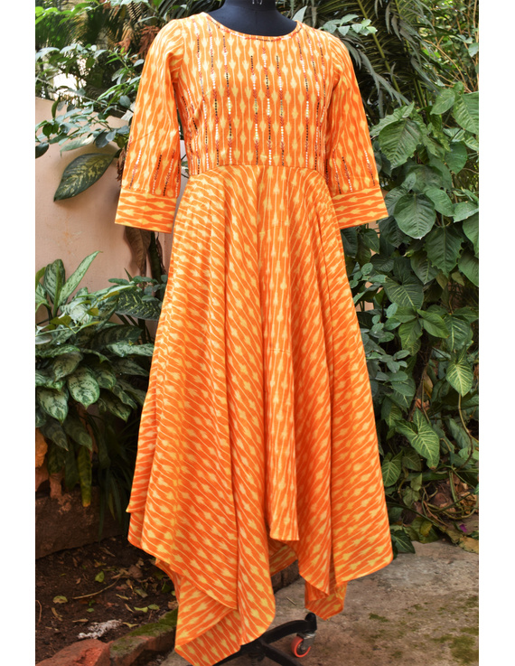Golden yellow semi silk ikat dress with a handkerchief hem: LD500C-XXL-1