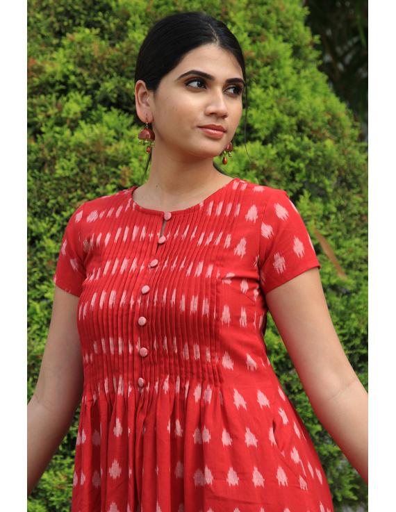 Red ikat calf length dress with pintuck yoke: LD520A-M-1