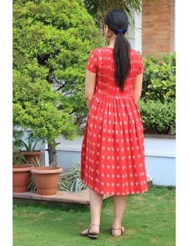 Red ikat calf length dress with pintuck yoke: LD520A-M-2-sm