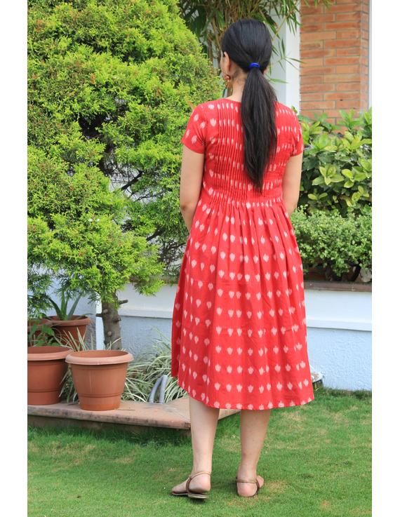 Red ikat calf length dress with pintuck yoke: LD520A-M-2