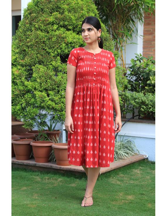 Red ikat calf length dress with pintuck yoke: LD520A-LD520A-M