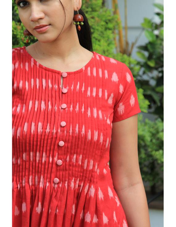 Red ikat calf length dress with pintuck yoke: LD520A-M-3