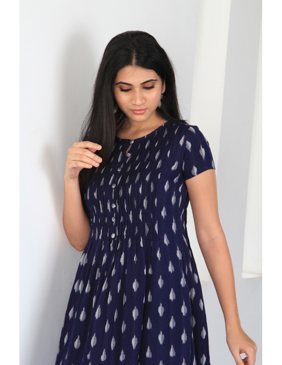 Dark blue ikat calf length dress with pintuck yoke: LD520C-L-3