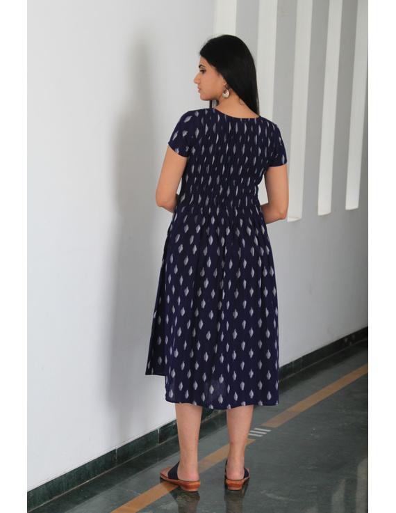 Dark blue ikat calf length dress with pintuck yoke: LD520C-L-2