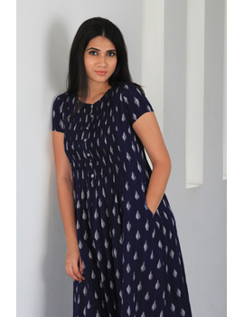 Dark blue ikat calf length dress with pintuck yoke: LD520C-LD520C-L-sm