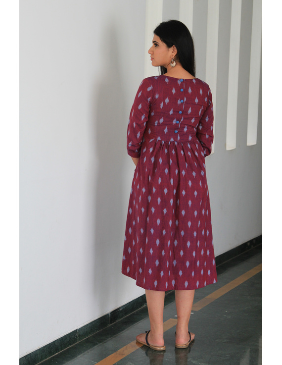 Dark purple ikat dress with embroidered yoke and front pockets: LD530A-M-2