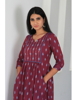 Dark purple ikat dress with embroidered yoke and front pockets: LD530A-M-1-sm