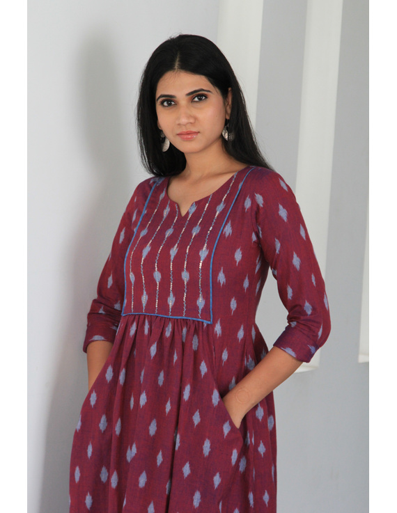 Dark purple ikat dress with embroidered yoke and front pockets: LD530A-M-1