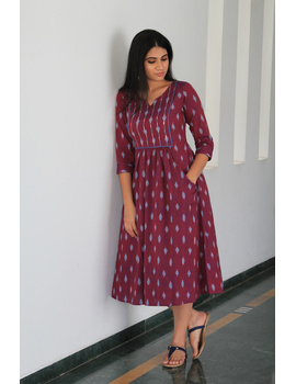 Dark purple ikat dress with embroidered yoke and front pockets: LD530A-LD530A-M-sm