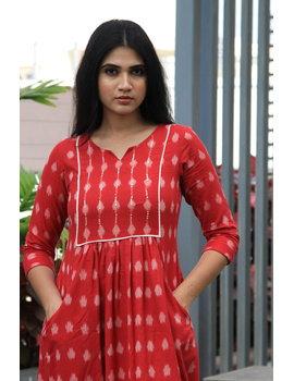 Red ikat dress with embroidered yoke and front pockets: LD530B-M-1-sm