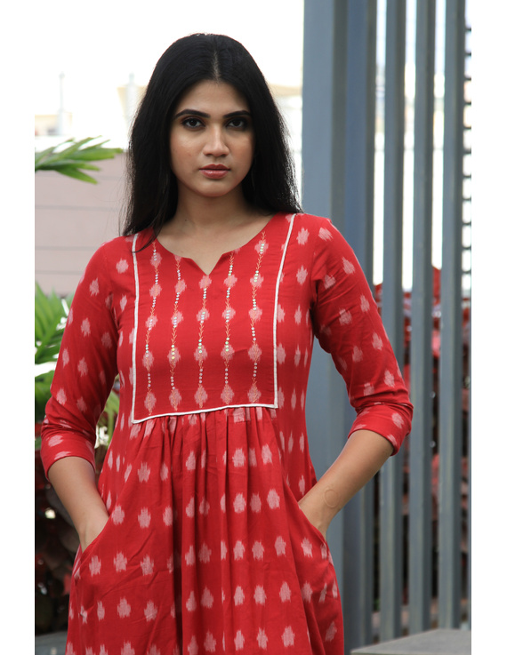 Red ikat dress with embroidered yoke and front pockets: LD530B-M-1