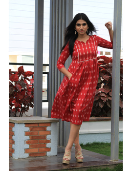 Red ikat dress with embroidered yoke and front pockets: LD530B-LD530B-M-sm