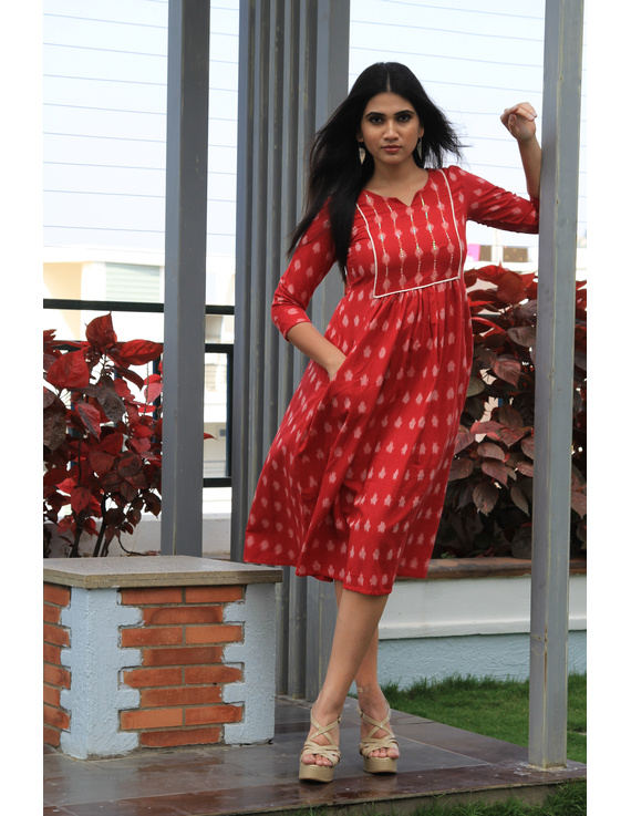 Red ikat dress with embroidered yoke and front pockets: LD530B-LD530B-M