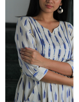 White ikat dress with embroidered yoke and fron pockets: LD530D-s-3-sm