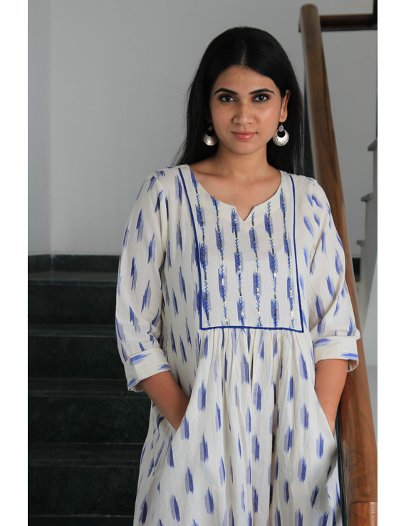 White ikat dress with embroidered yoke and fron pockets: LD530D-s-1