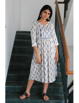 White ikat dress with embroidered yoke and fron pockets: LD530D-LD530D-sm