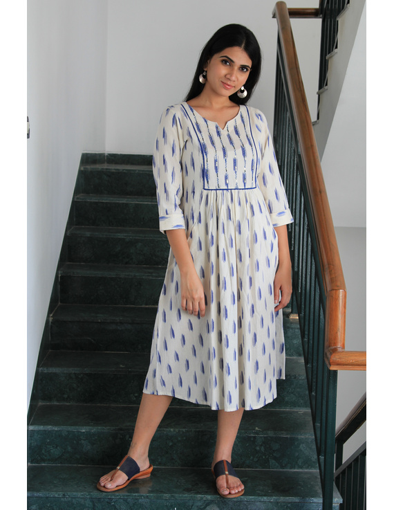 White ikat dress with embroidered yoke and fron pockets: LD530D-LD530D