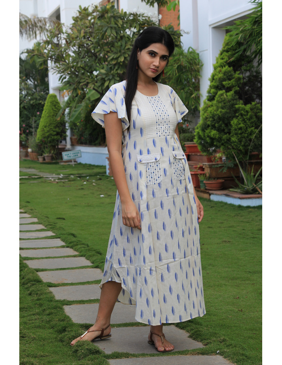 WHITE IKAT PLEATED DRESS WITH EMBROIDERED POCKETS AND YOKE: LD550C-LD550C-S