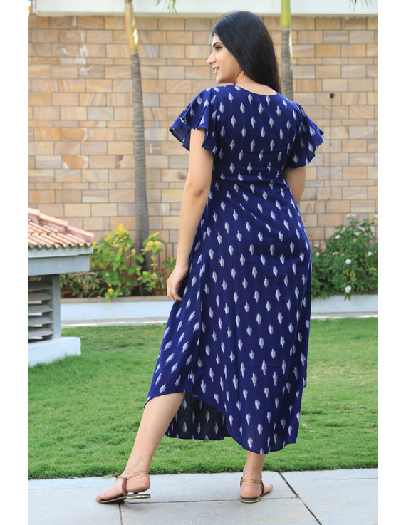 BLUE IKAT PLEATED DRESS WITH EMBROIDERED POCKETS AND YOKE: LD550B-M-2