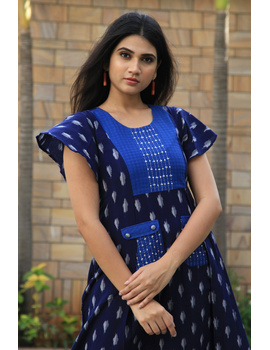 BLUE IKAT PLEATED DRESS WITH EMBROIDERED POCKETS AND YOKE: LD550B-M-1-sm