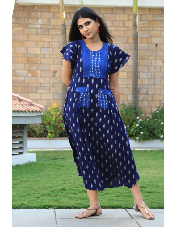 BLUE IKAT PLEATED DRESS WITH EMBROIDERED POCKETS AND YOKE: LD550B-LD550B-M