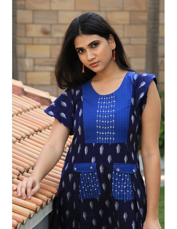 BLUE IKAT PLEATED DRESS WITH EMBROIDERED POCKETS AND YOKE: LD550B-M-3