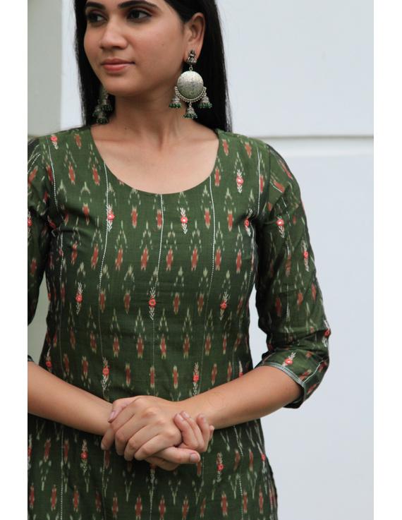 Mehendi green ikat silk kurta with hand embroidery: LK450A-S-3