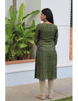 Mehendi green ikat silk kurta with hand embroidery: LK450A-S-2-sm