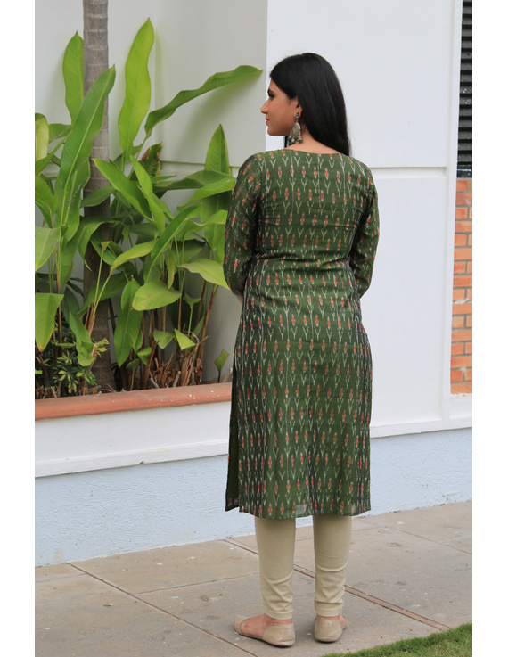 Mehendi green ikat silk kurta with hand embroidery: LK450A-S-2