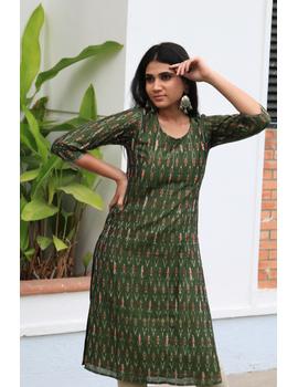 Mehendi green ikat silk kurta with hand embroidery: LK450A-S-1-sm