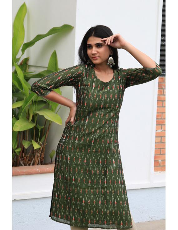 Mehendi green ikat silk kurta with hand embroidery: LK450A-S-1