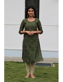 Mehendi green ikat silk kurta with hand embroidery: LK450A-LK450A-S-sm