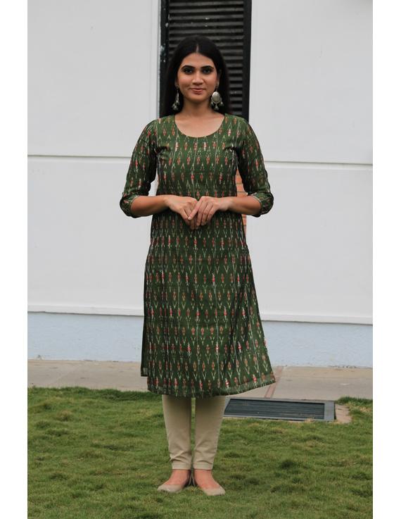 Mehendi green ikat silk kurta with hand embroidery: LK450A-LK450A-S