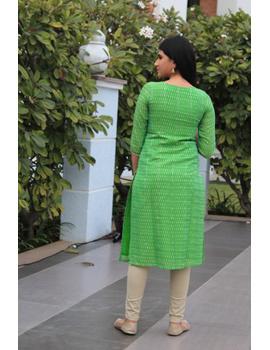 Light green ikat silk kurta with hand embroidery: LK450B-L-2-sm