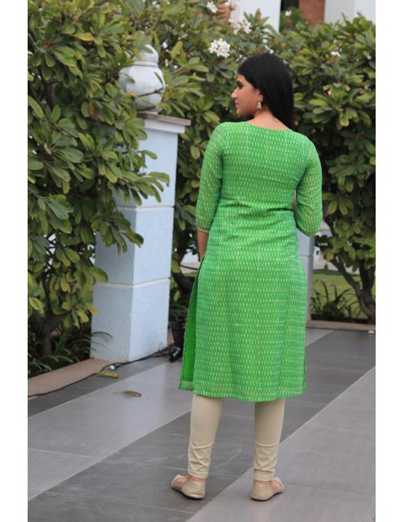 Light green ikat silk kurta with hand embroidery: LK450B-L-2