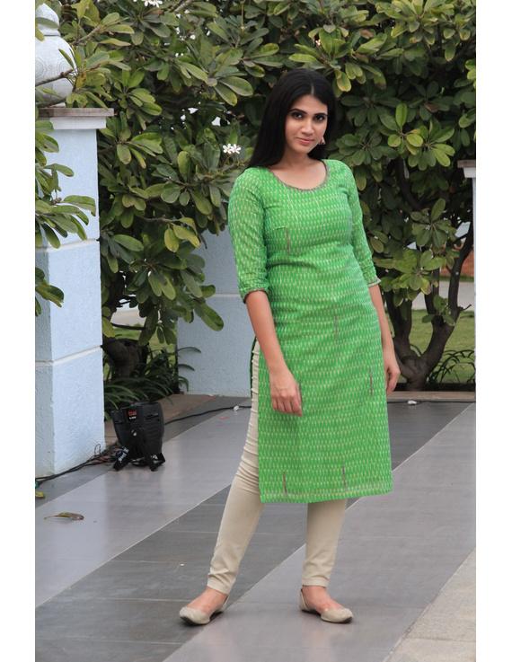 Light green ikat silk kurta with hand embroidery: LK450B-s-1