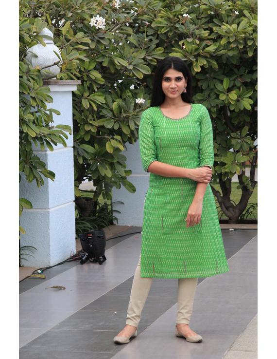 Light green ikat silk kurta with hand embroidery: LK450B-LK450B-L