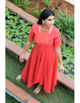 Pink handloom cotton high low long dress with halter neck and hand embroidery: LD590A-S-1-sm