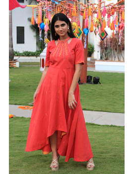 Pink handloom cotton high low long dress with halter neck and hand embroidery: LD590A-LD590A-S-sm
