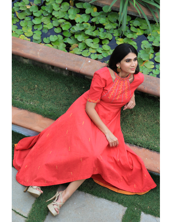 Pink handloom cotton high low long dress with halter neck and hand embroidery: LD590A-S-2