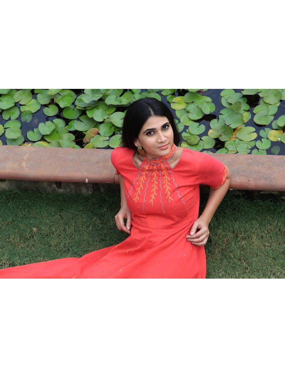 Pink handloom cotton high low long dress with halter neck and hand embroidery: LD590A-S-3
