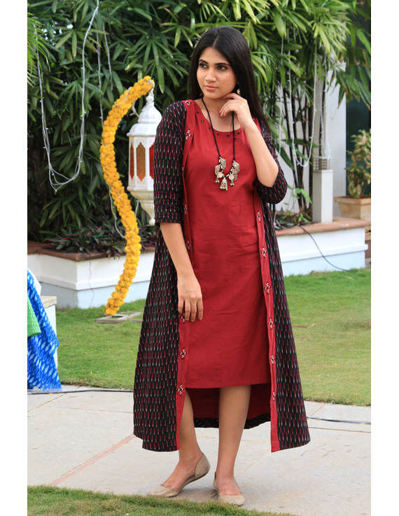 Red mangalagiri cotton straight dress with an ikat long jacket: LD 600A-L-1