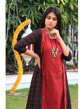 Red mangalagiri cotton straight dress with an ikat long jacket: LD 600A-XXL-1-sm